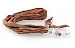 """""""Perlenprinzessin"""" Seidenhalsbändel in braun mit weisser Modul-Glasperle und echt Silberteilen"""