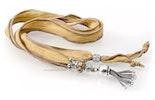 """""""Zötteli"""" Seidenhalsbändel in okker mit passender Modul-Glasperle und echt Silberteilen"""