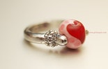 sweetheart Fingerring mit Muranoglasperle (Gaby/Birsfelden,BL)