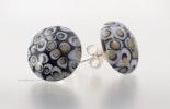 """""""Special"""" flache Ohrstecker aus Muranoglas & echt Silber in schwarz/beige/grau (schmücken Gaby/Oetwila.d.L.)"""