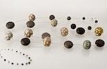 """Aion-Mix"" Lange Halskette mit verschiedenen Double-Helix Glasperlen & Lavaperlen mit echt Silberverschluss (verkauft an Käthi)"